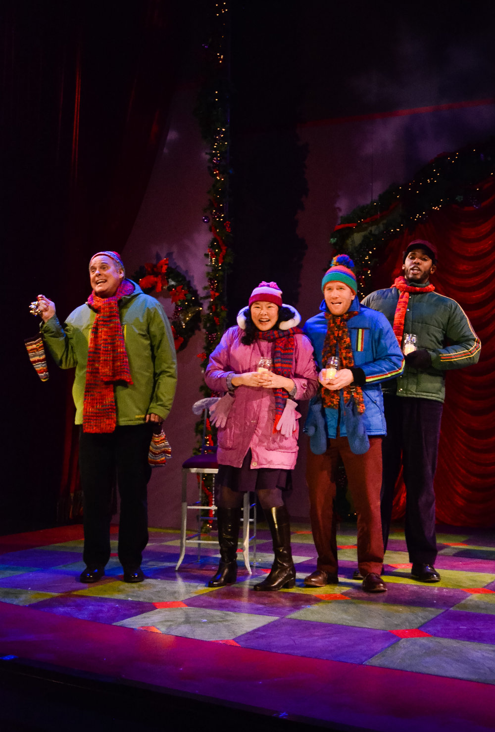 Theater Latté Da's A CHRISTMAS CAROLE PETERSEN. Photo by Emilee Elofson. Featuring Tod Petersen, Sara Ochs, Ryan Lee, and Dominique Wooten.
