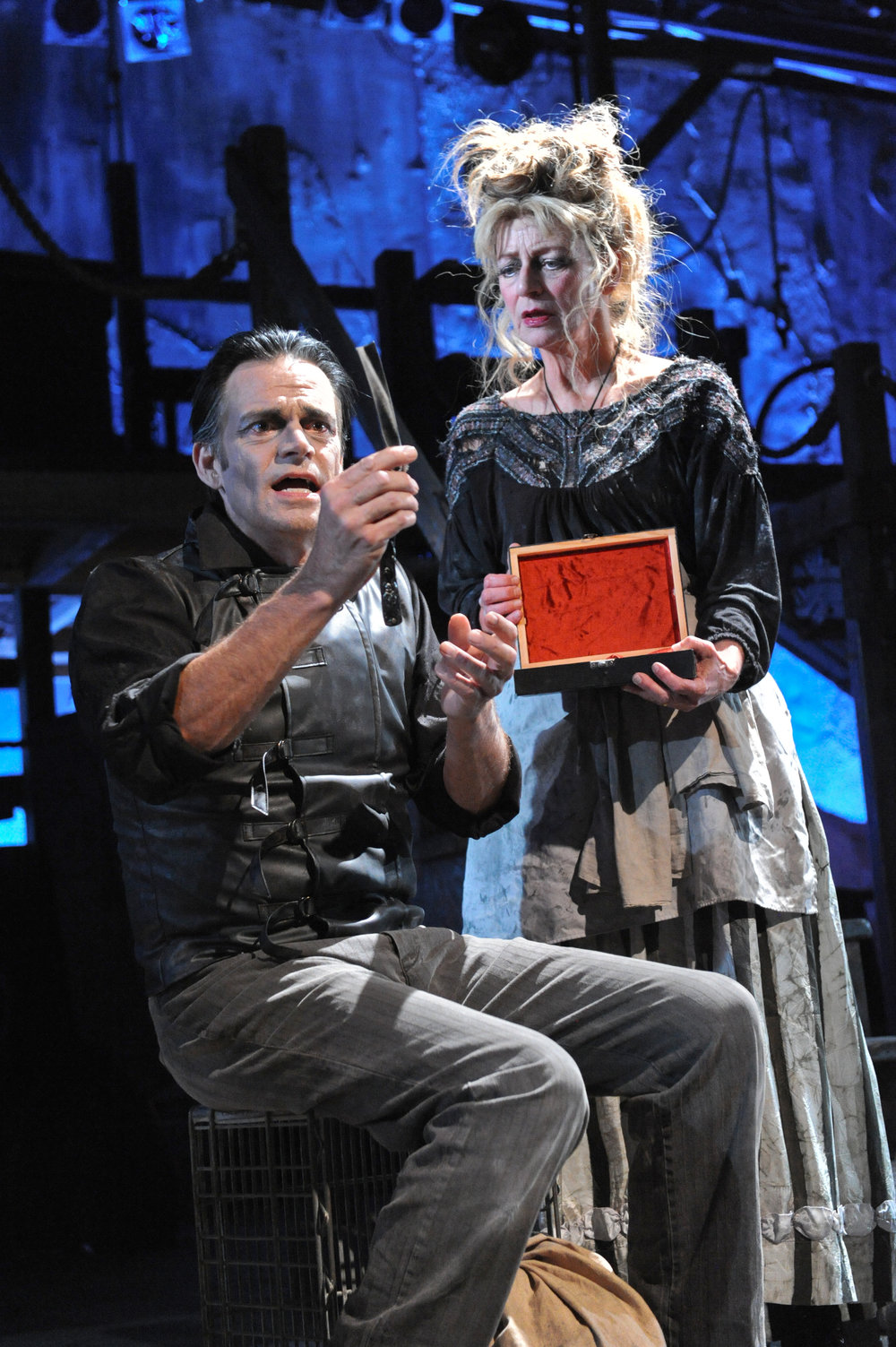 Mark Benninghofen as Sweeney Todd and Sally Wingert as Mrs. Lovett, Photo by George Byron Griffiths