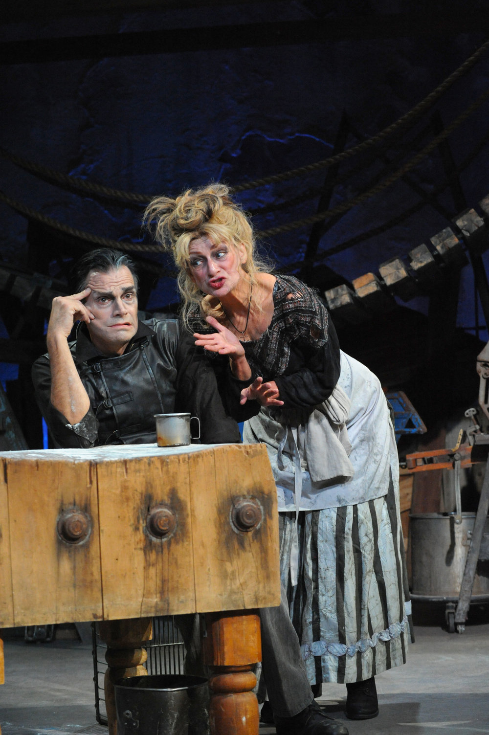 Mark Benninghofen as Sweeney Todd and Sally Wingert as Mrs. Lovett. Photo by George Byron Griffiths.