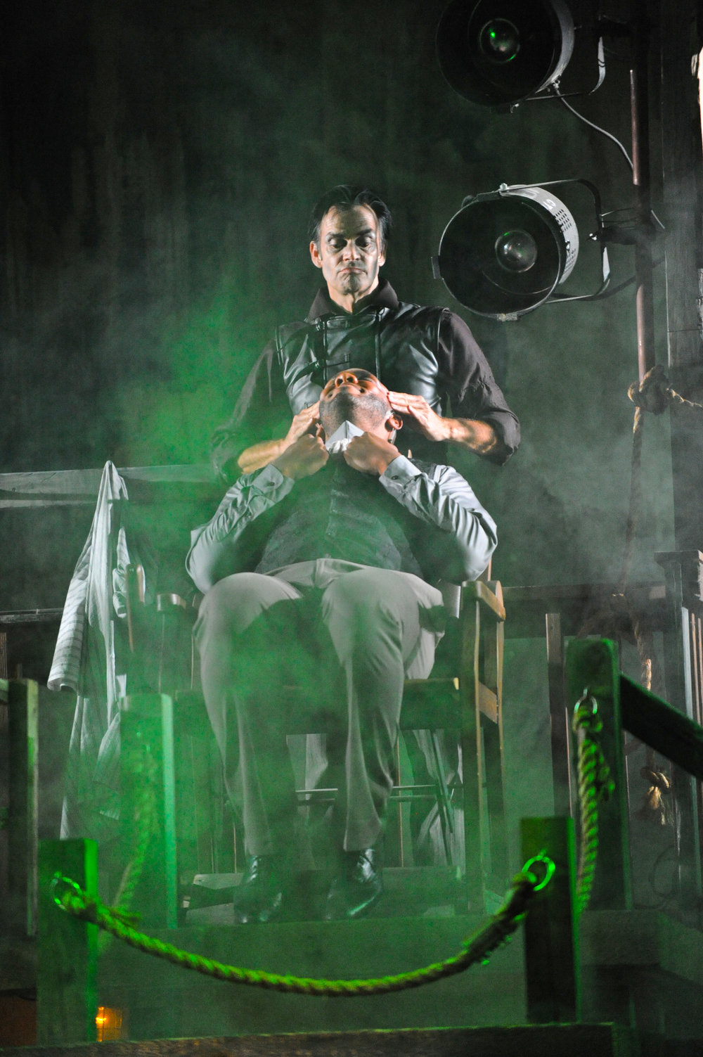 Mark Benninghofen as Sweeney Todd and Dominique Wooten as Beadle Bamford, Photo by George Byron Griffiths