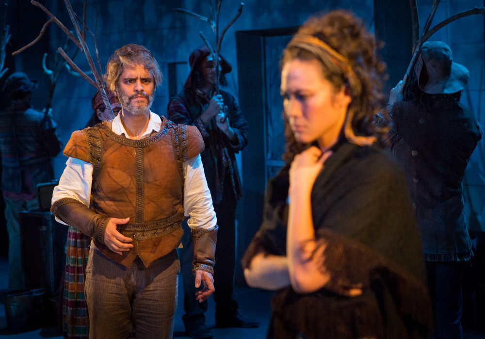 "Martín Solá and Meghan Kreidler star in ""Man of La Mancha"" at Theater Latté Da. Below, Kreidler portrays Aldonza, who blossoms under Don Quixote's influence. PHOTO BY ALLEN WEEKS"
