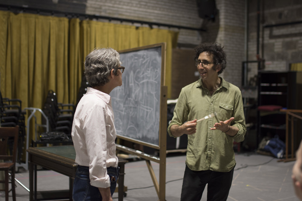 Sally Wingert (The Librarian) with Playwright Glen Berger, Photo credit Emilee Elofson