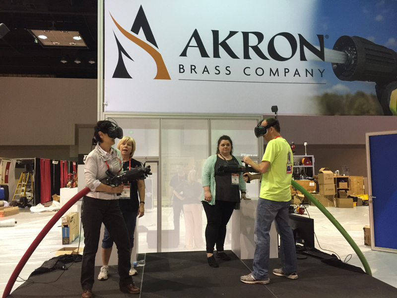 Akron Brass is using real hoses and nozzles combined with a VR environment.