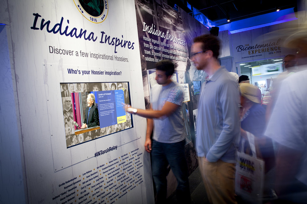 Visitors explore famous Indiana faces.