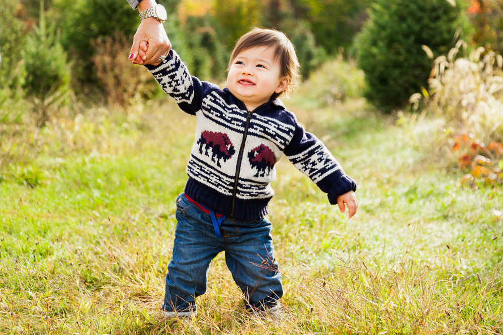 toddler boy with fall sweater