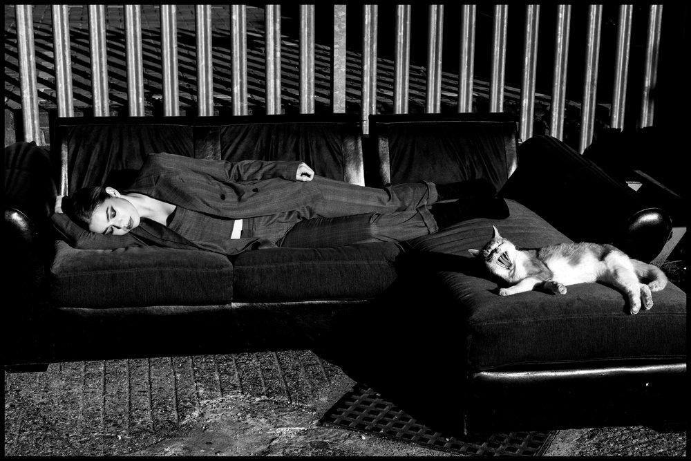 Singer L Devine takes a break.