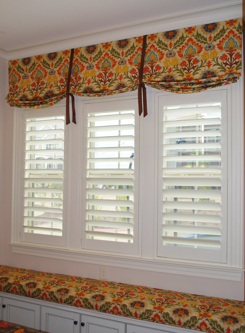 Valance with ties and window seat cushion
