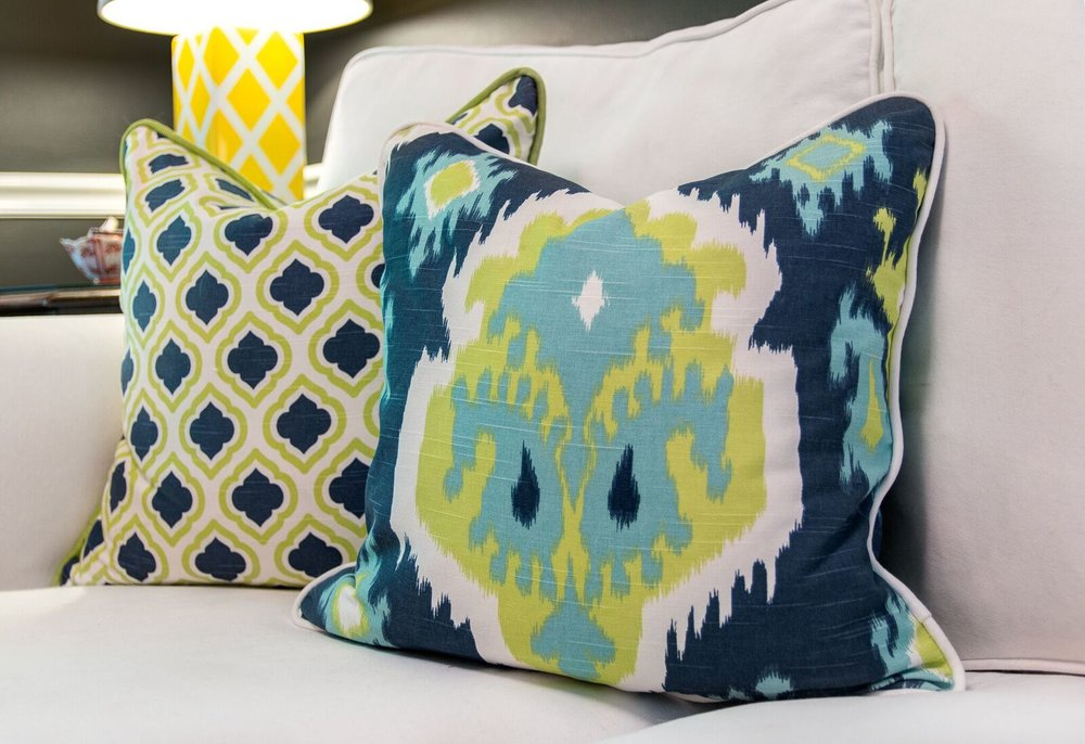 Throw pillows with contrast cording