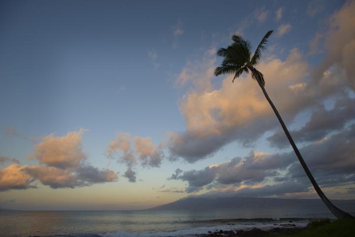 twilight clouds over moloka'i