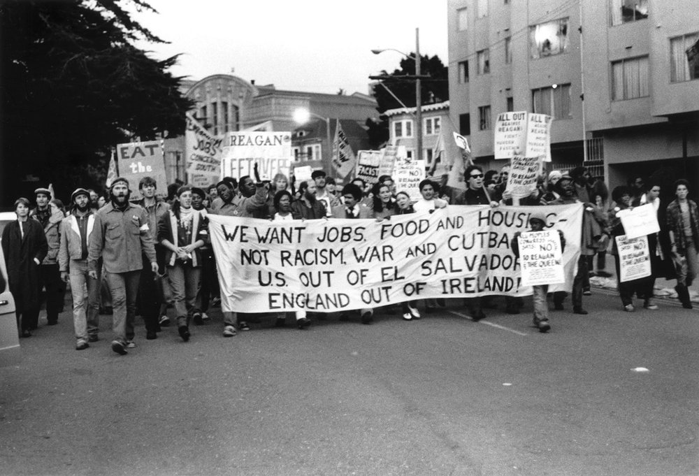 Protest against Reagan and The Queen of England