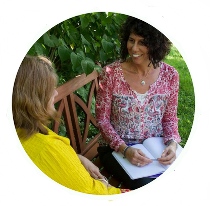 Nanette Bown, PA-C, Yoga and Ayurvedic Practitioner during a consultation (photo).