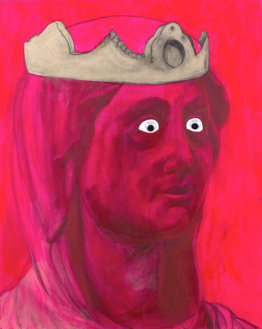 "New Googly   30"" x 24"" x 1.5"" | Acrylic, graphite, Wiggle Eyes, on cradled panel | 2015"