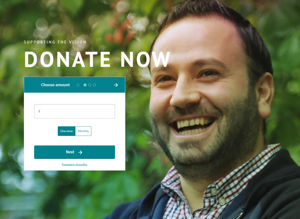 An example of a branded, integrated donate widget