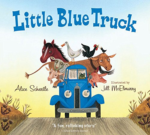 - 3.  Little Blue Truck by Alice Schertle   BEEP BEEP BEEP.....and there comes Q running over.  Little Blue Truck has scored some major points in my household the last couple months.  I initially purchased this book when Q was quite little, but I found he didn't start engaging with it till just after he turned one.  This book is stacked with truck and animal sounds and show the power of friendship and how helpings others goes a long way.