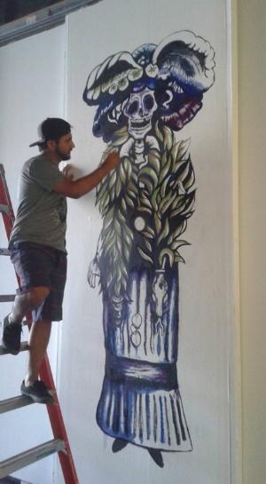 Painting acrylic murals for Día de los Muertos Art Exhibition 2017