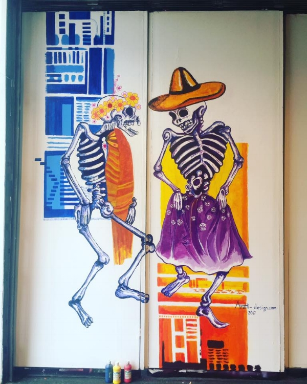 Skeleton couple Concept mural at Day of the dead Art Exhibition 2017