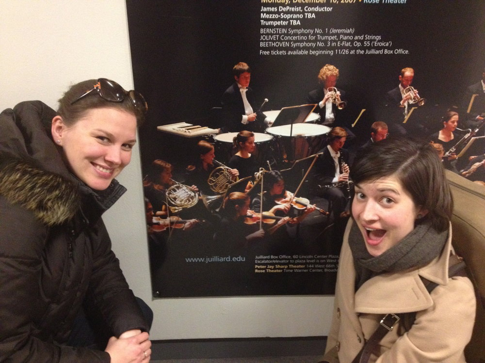 alana and D with old picture poster at Juilliard.jpg