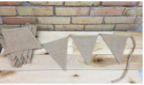 BURLAP BUNTING          QUANTITY: 13 FT RENT: $10