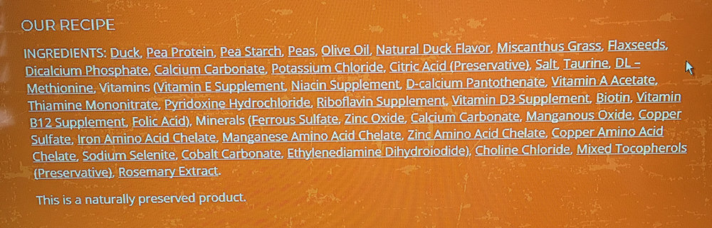 """IT APPEARS PEAS PROVIDE FOR A LARGE AMOUNT OF THE PROTEIN IN THIS FOOD. HENCE THE REASON FOR ADDED TAURINE AND THE SYNTHETIC AMINO ACID DL-METHIONINE. (SEE """"GRAIN-FREE"""" ABOVE)"""