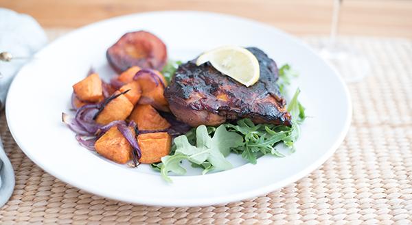 Tamarind-glazed chicken breast with roasted butternut squash