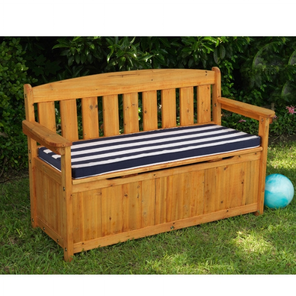 An outdoor bench with a storage area is a popular place to store toys.