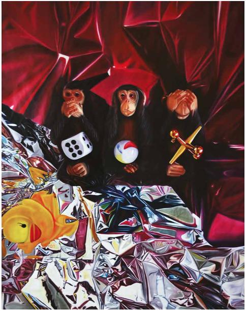 Monos Sabios.Oleo sobre tela | Serie Game Over | 1.36 x 1.80 cms.