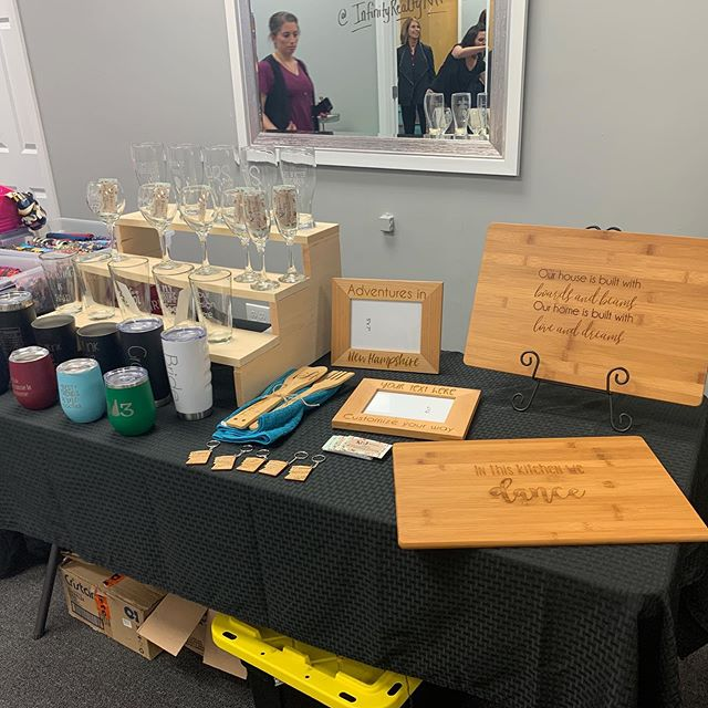 All set up for #sipsavorshop at @infinityrealtynh . . #shoplocal #woodsigns #laserengraving #mothersdayshopping #giftsformom #communityovercompetition #closinggifts #realtors