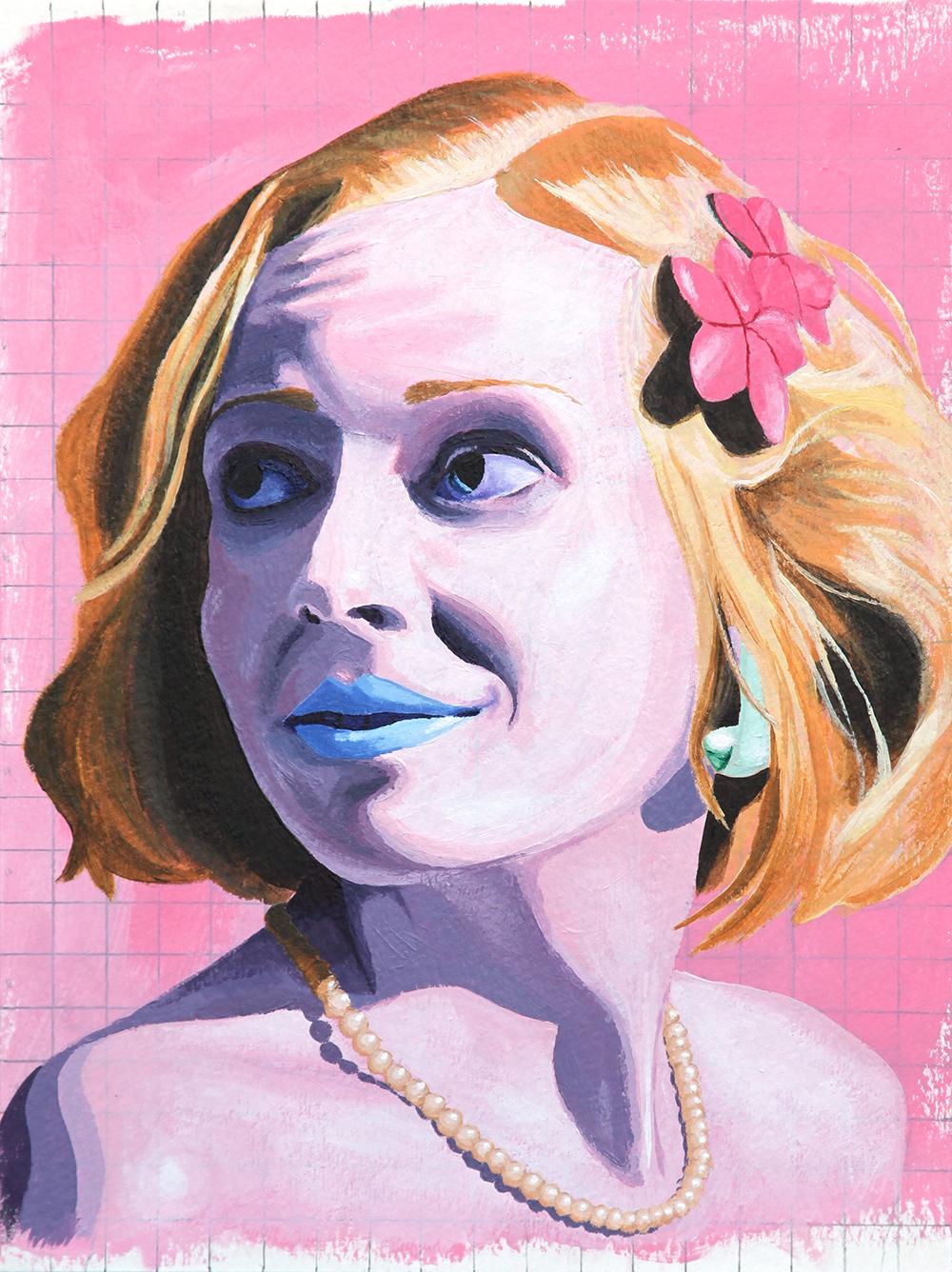 "- Olivia. Acrylic on paper, 12""x9"", 2012."