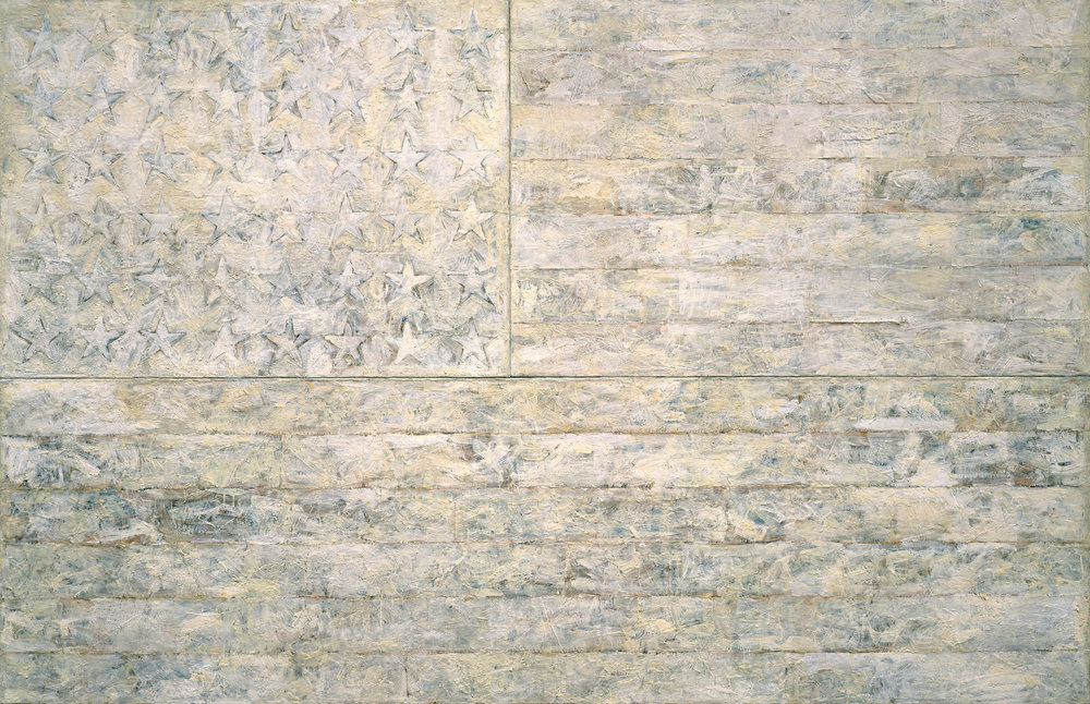 White Flag, Jasper Johns, 1955, encaustic, oil, newsprint, and charcoal on canvas, 198.9 x 306.7 cm <www.metmuseum.org/toah/works-of-art/1998.329/> [accessed 27 October 2016]