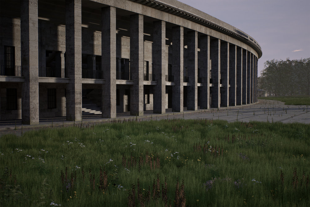 Olympia (The Real Time Disintegration Into Ruins of the Berlin Olympic Stadium Over the Course of a Thousand   Years) , David Claerbout, 2016, two channel real-time projection, colour, silent, HD animation, 1000 years <http://davidclaerbout.com/Olympia-The-real-time-disintegration-into-ruins-of-the-Berlin-Olympic> [accessed 25 November 2016]
