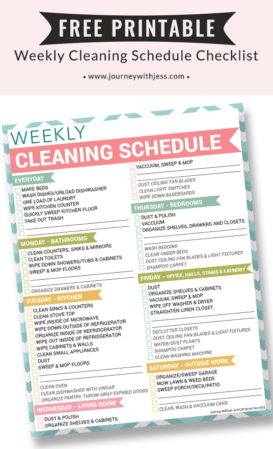 image relating to Printable Weekly Cleaning Schedule known as Absolutely free Printable Weekly Cleansing Routine Excursion With Jess