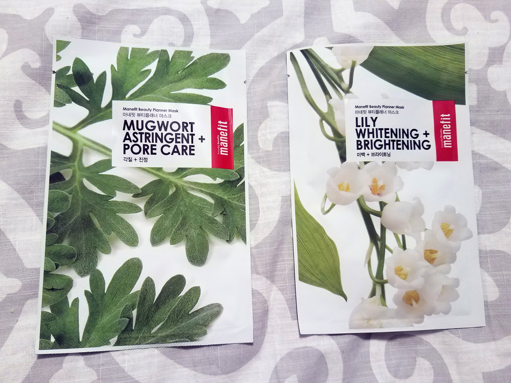 Manefit Beauty Planner Mask - Mugwort, Astringent + Pore Care and Beauty Planner Mask - Lily, Whitening + Brightening
