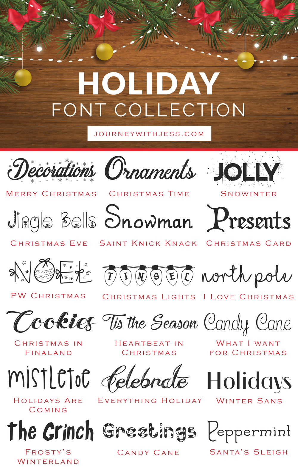 Free Font Collection: Holiday Fonts — Journey With Jess ...
