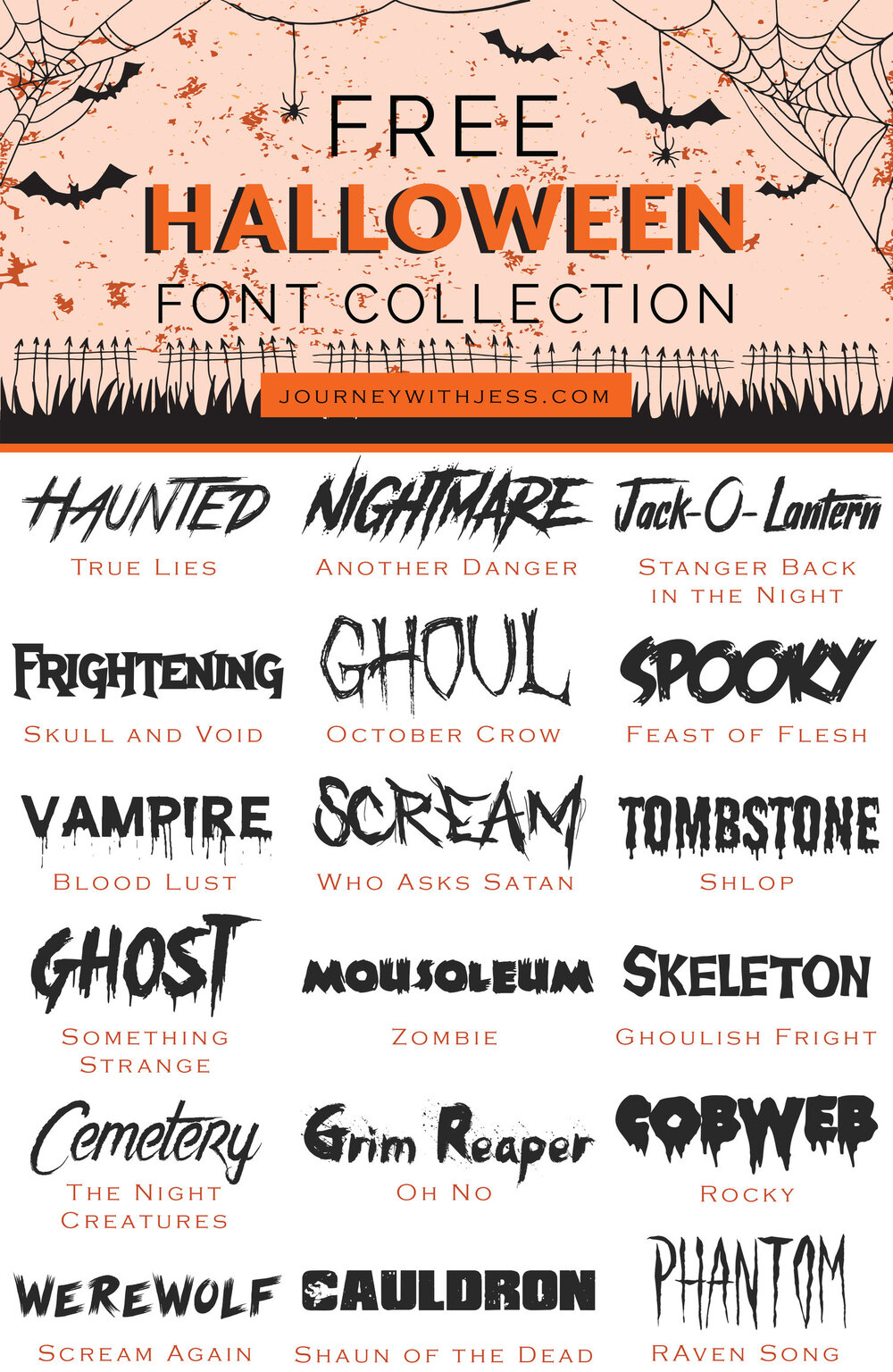 Free Font Collection: Halloween Fonts — Journey With Jess