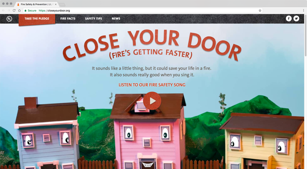 Closeyourdoor.org, a fire safety website created by the UL Firefighter Safety Research Institute (FSRI).