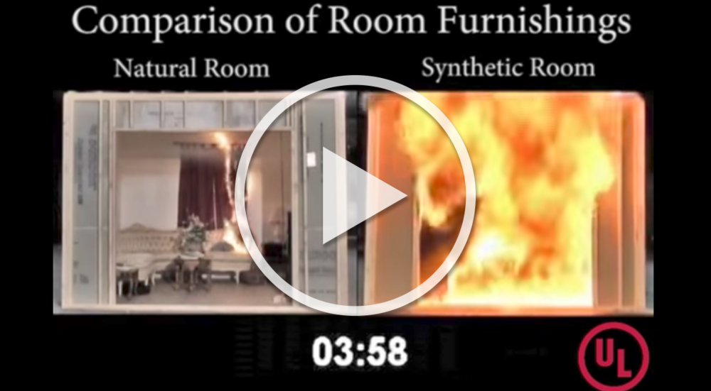UL FSRI conducts research burning two residential fires, one composed of materials commonly used in the 1970s, the other composed of common materials used today.
