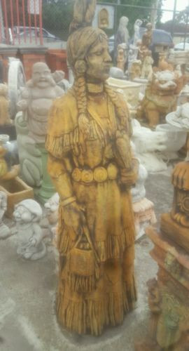 Concrete Standing Indian Statue / Garden Ornament In Rust 1m Tall