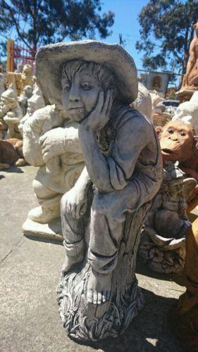 Concrete Boy Sitting On Tree Log Statue / Garden Ornament In Grey 90 Cm Tall