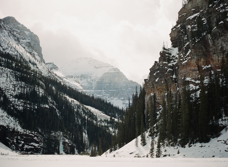 Wedding Photographer Canada Film Photography Frozen Lake Louise in Canada. Shot on Contax 645 using Fuji Film Pro 400
