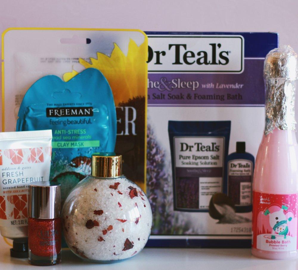 Sunflower Mask:   Anthropologie ;  Dr. Teal's Bath Set:   Walmart  Bubble Bath:   Ulta ;  Freeman Clay Mask:   Ulta   Ornament Bath Salts:   World Market ; Nail Polish:   Ulta  Fresh Grapefruit Hand Cream:   World Market