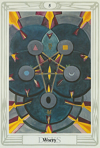 - When I first started making these leather harnesses I knew I would make one with a pentagram. It would be the second design and would be based on this card. Mercury in Taurus causes this card to be obstinate and represents inaction combined with forward thought. Coincidentally when creating this harness I slumped into a rut in production cause by the initial anxiety of entrepreneurship and lack of good time management skills. It is a card that has haunted me in the past and I can only hope that I can harness (pardon the pun) it's energy to reverse it's natural effects.