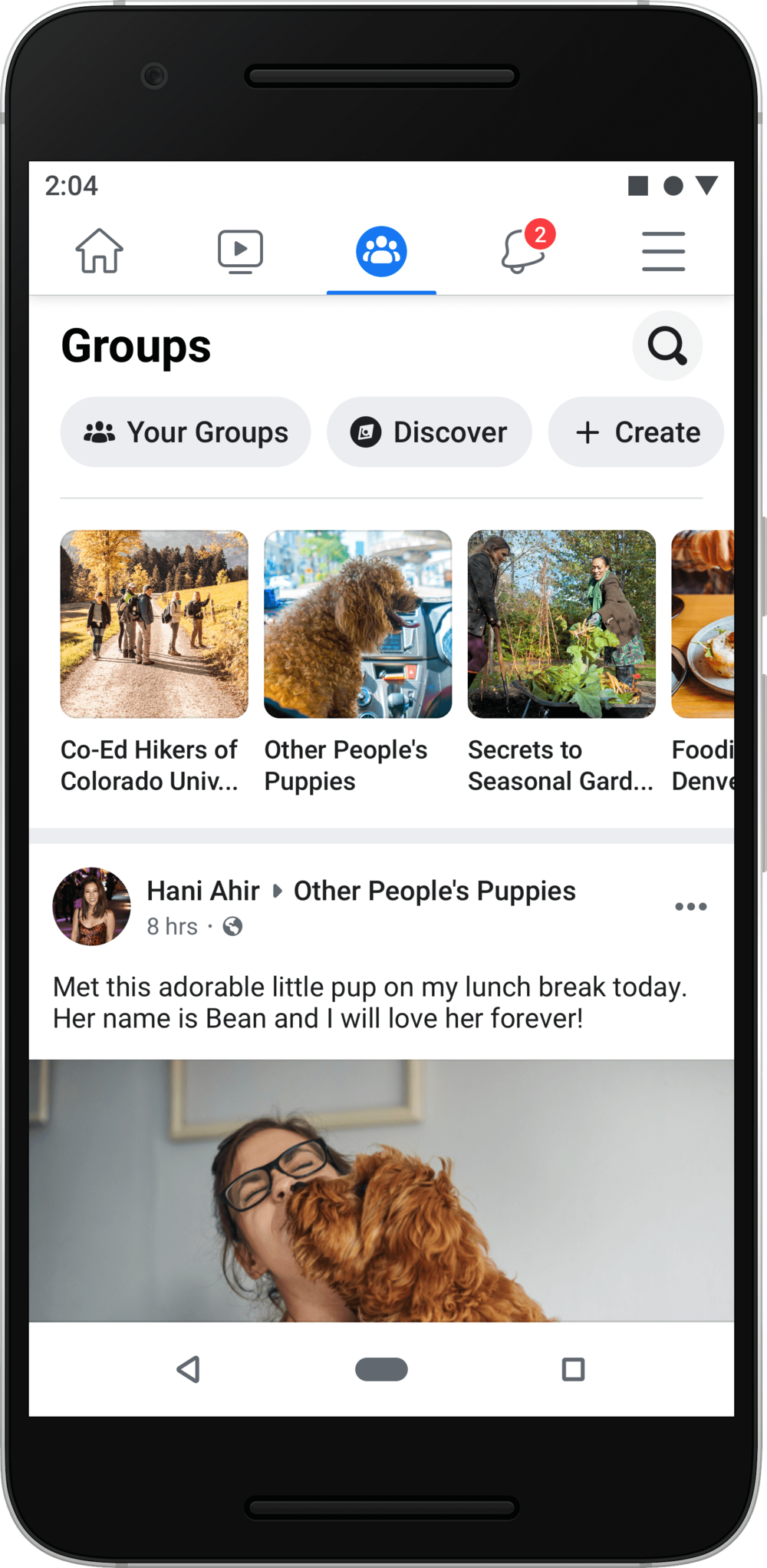 Redesign of the Facebook Groups tab in the mobile app. Desktop redesign to ship out in the coming months.