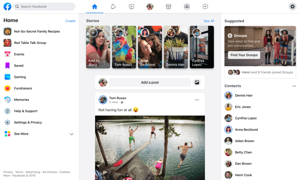 Facebook will be shipping out the new FB5 redesign on desktop in the coming months. Notice the emphasis on Groups!