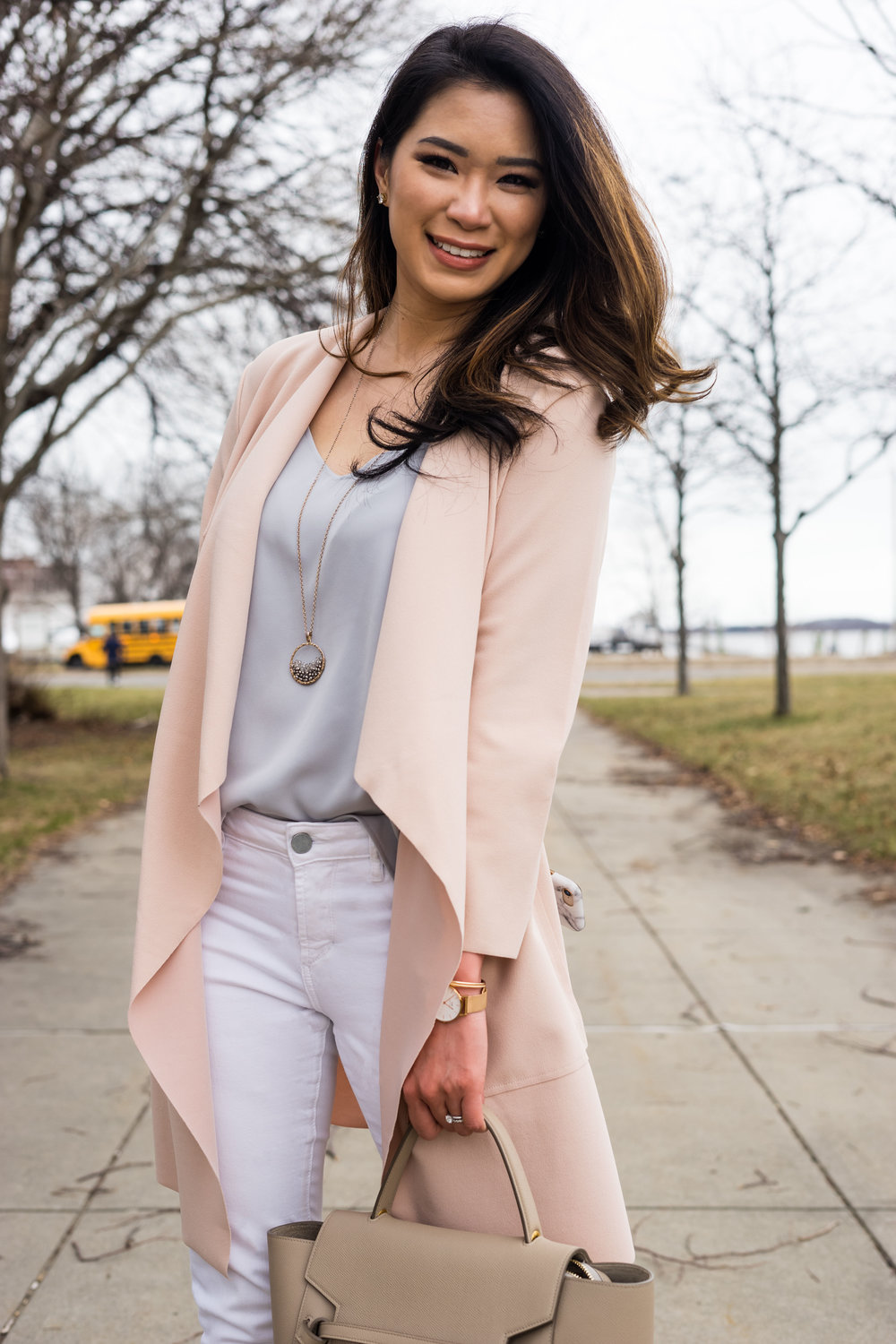 SHEIN Pink Waterfall Wrap Coat for the Spring - TheNinesBlog.com : A Boston Blog