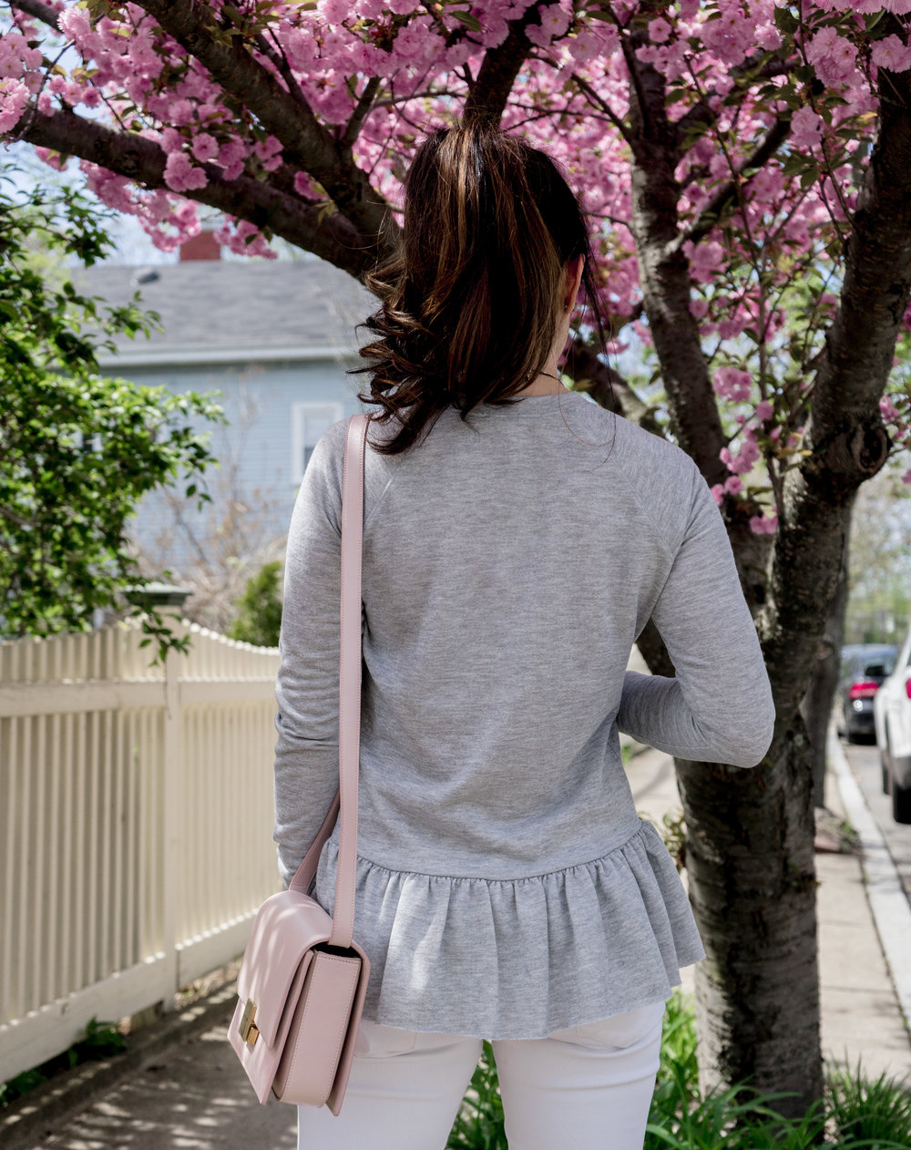 Casual Weekends with Gray Peplum Sweatshirt: TheNinesBlog.com - A Boston Blog