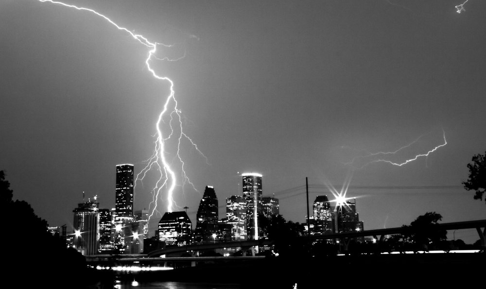 Lightning over Houston downtown. Canon T3i.