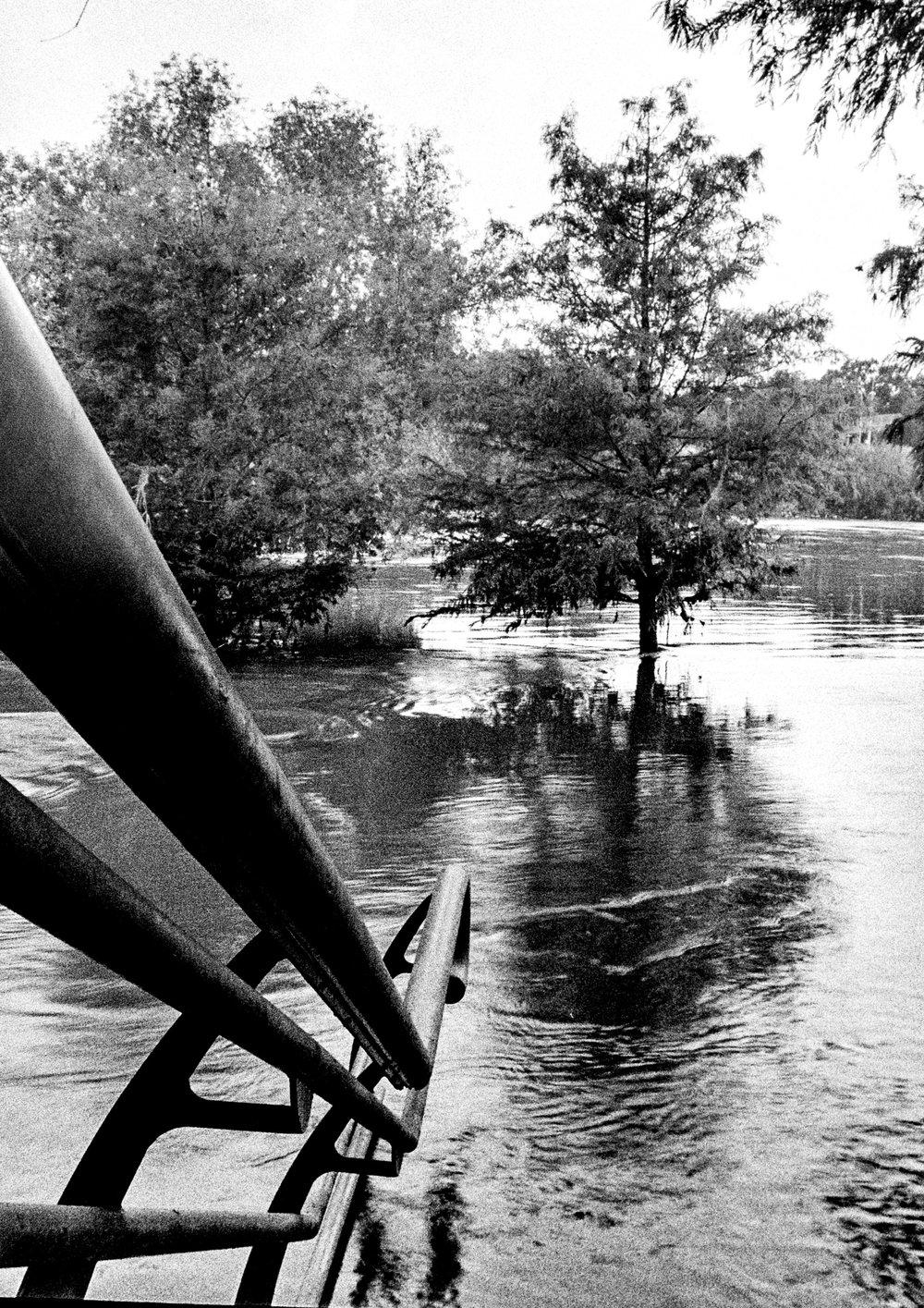 stairs to flood Houston Harvey Buffalo Bayou