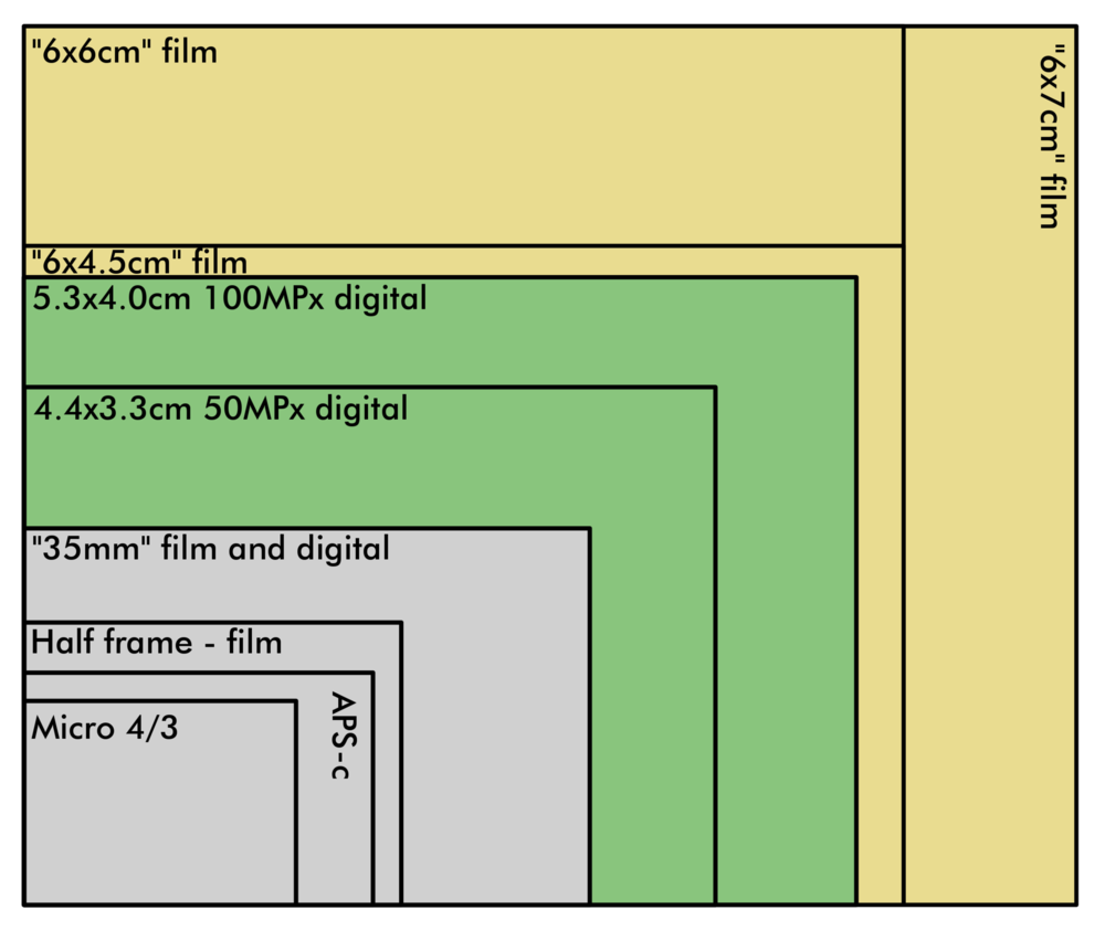 Common digital sensor sizes compared to traditional film sizes. Looks like digital doesn't have all the bases covered (yet).