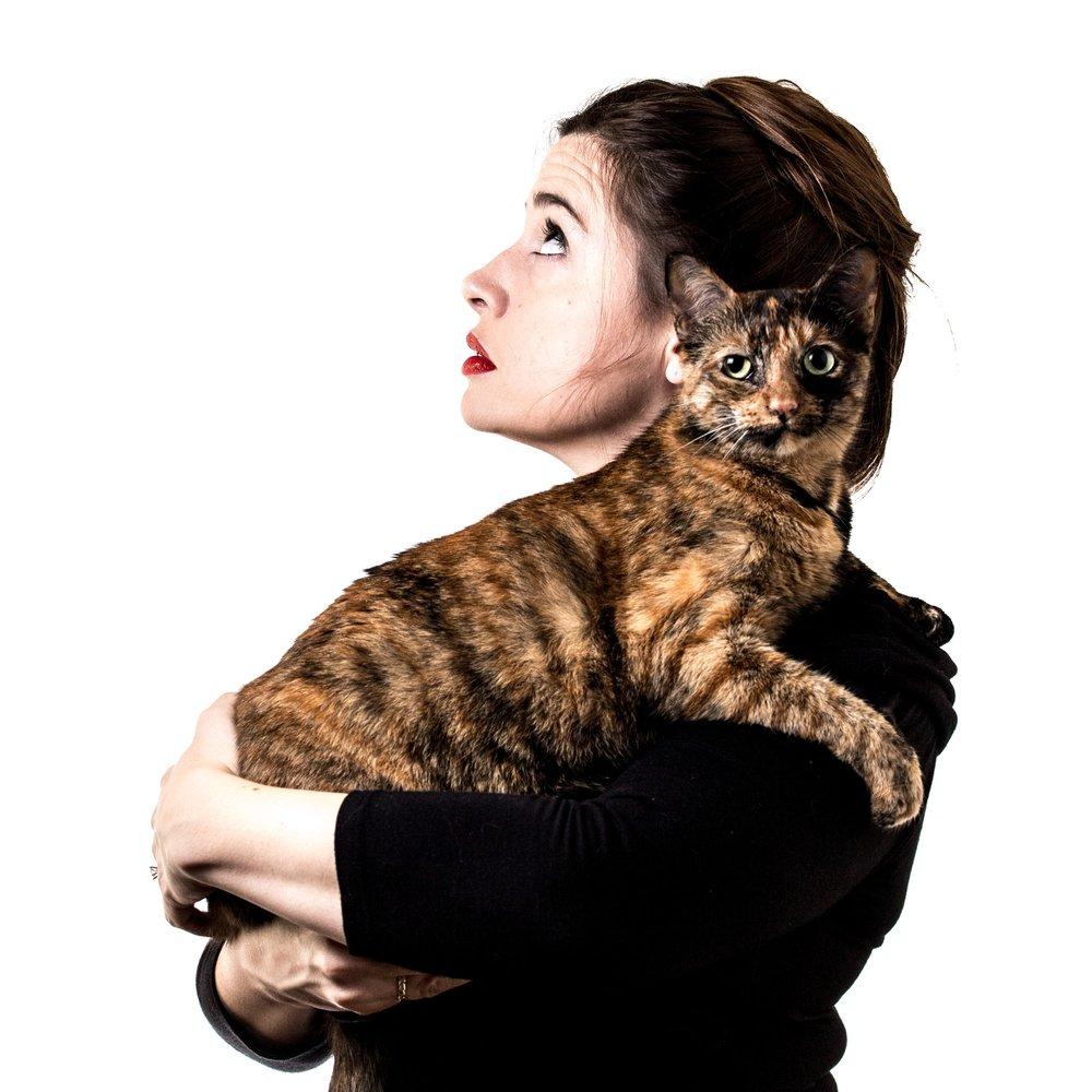Julia Fox and Cat Portrait Houston