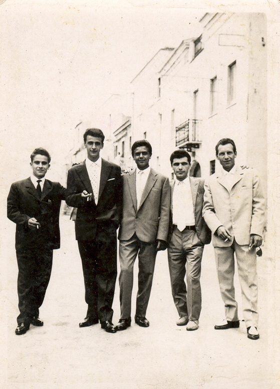 Group of men in Biccari Italy in the 1960s
